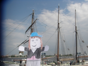 Emmy at the Tall Ship Gazella