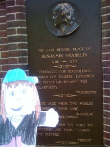 Emmy at Ben Franklin's Gravesite Sign